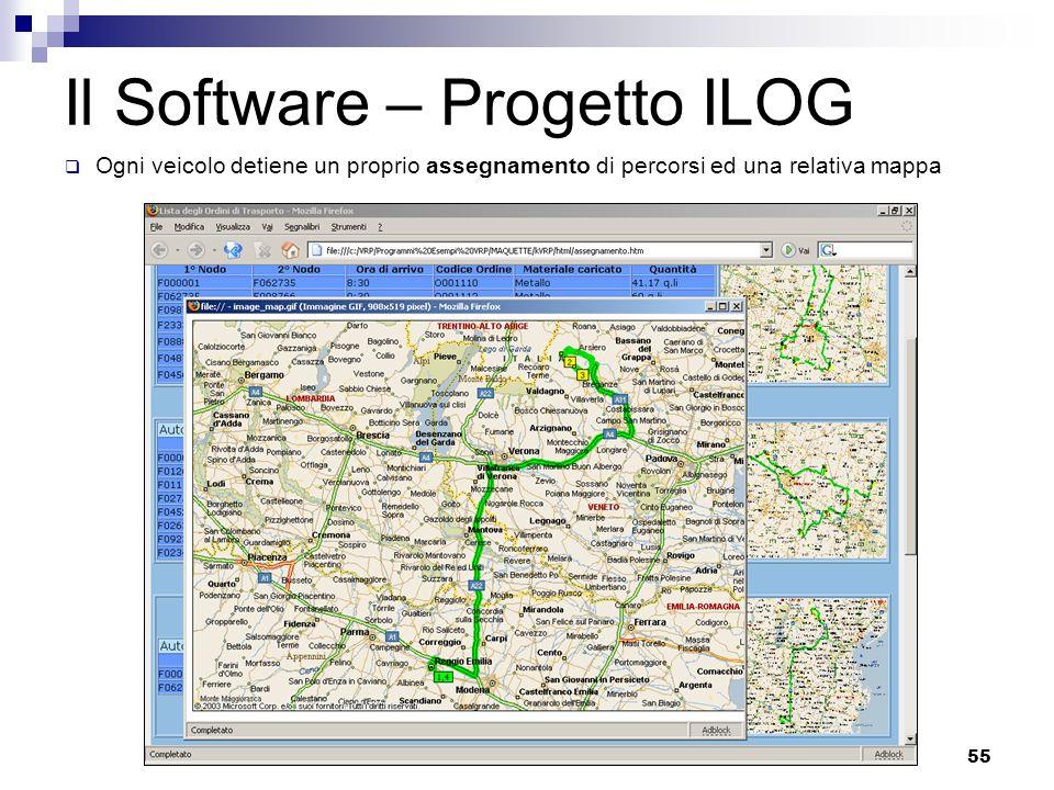 55 Il Software – Progetto ILOG  Ogni veicolo detiene un proprio assegnamento di percorsi ed una relativa mappa