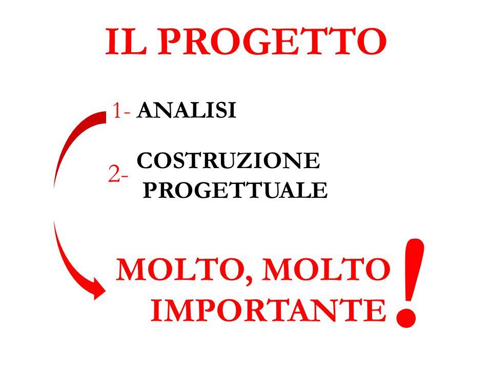 IL PROGETTO 1- ANALISI COSTRUZIONE PROGETTUALE 2- MOLTO, MOLTO IMPORTANTE !