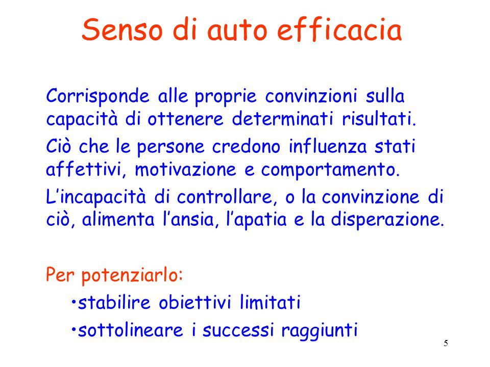 5 Senso di auto efficacia Corrisponde alle proprie convinzioni sulla capacità di ottenere determinati risultati. Ciò che le persone credono influenza