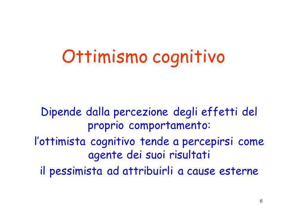 6 Ottimismo cognitivo Dipende dalla percezione degli effetti del proprio comportamento: l'ottimista cognitivo tende a percepirsi come agente dei suoi