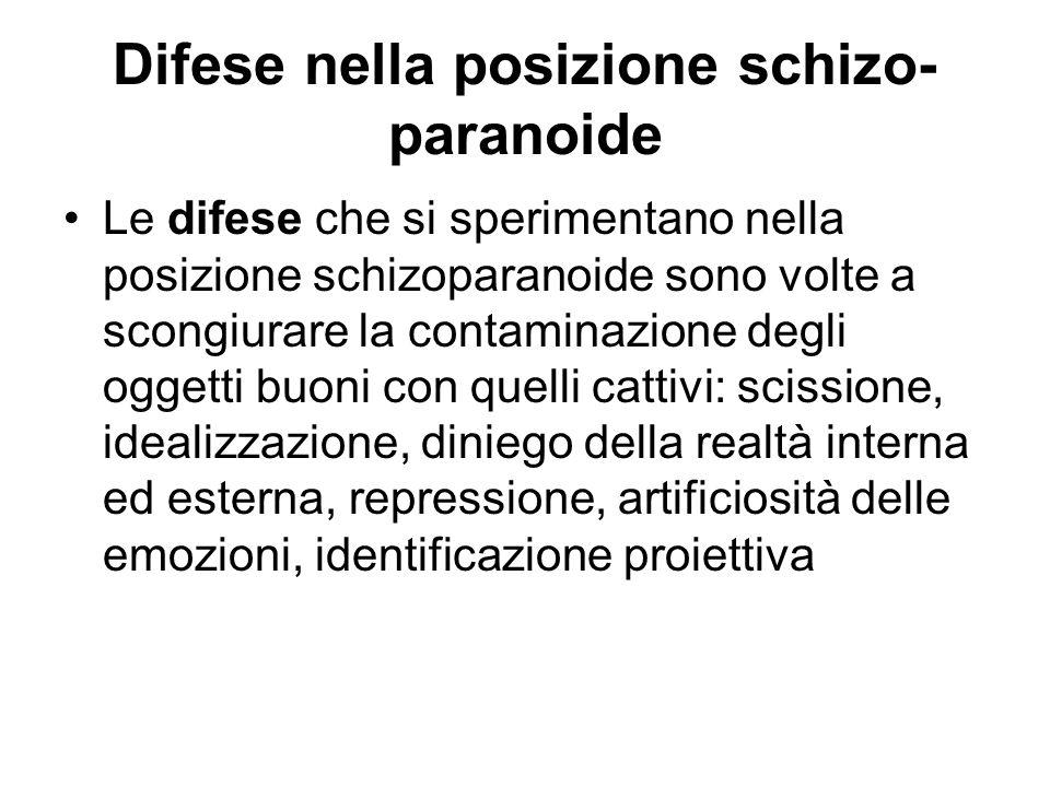 Difese nella posizione schizo- paranoide Le difese che si sperimentano nella posizione schizoparanoide sono volte a scongiurare la contaminazione degl