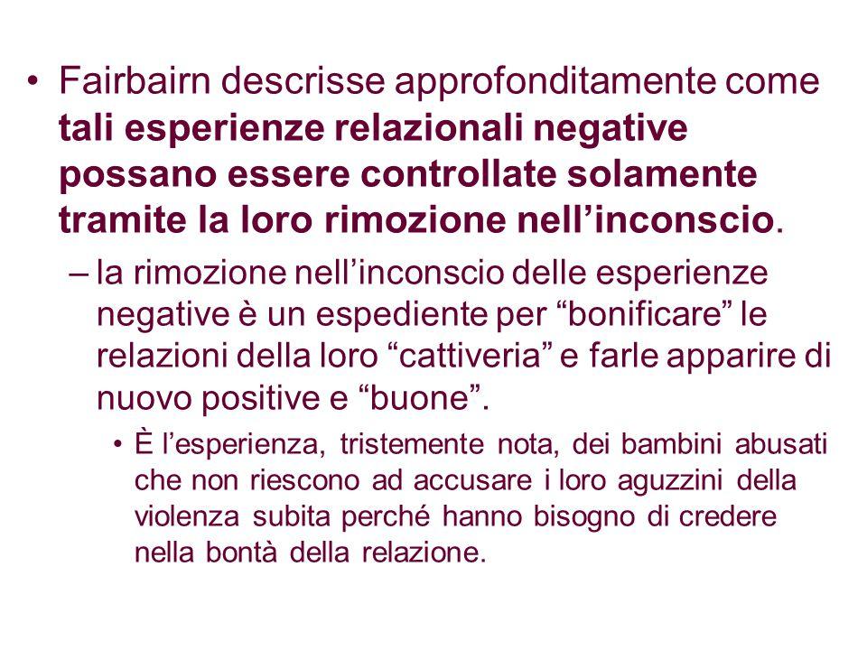 Fairbairn descrisse approfonditamente come tali esperienze relazionali negative possano essere controllate solamente tramite la loro rimozione nell'in
