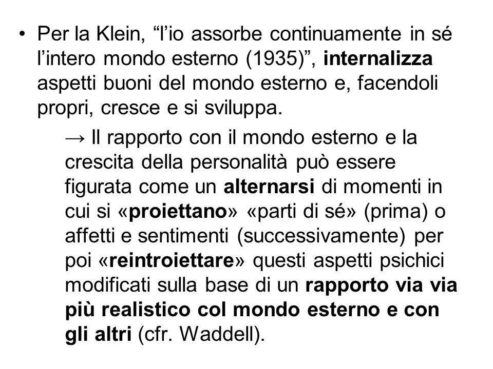 """Per la Klein, """"l'io assorbe continuamente in sé l'intero mondo esterno (1935)"""", internalizza aspetti buoni del mondo esterno e, facendoli propri, cres"""