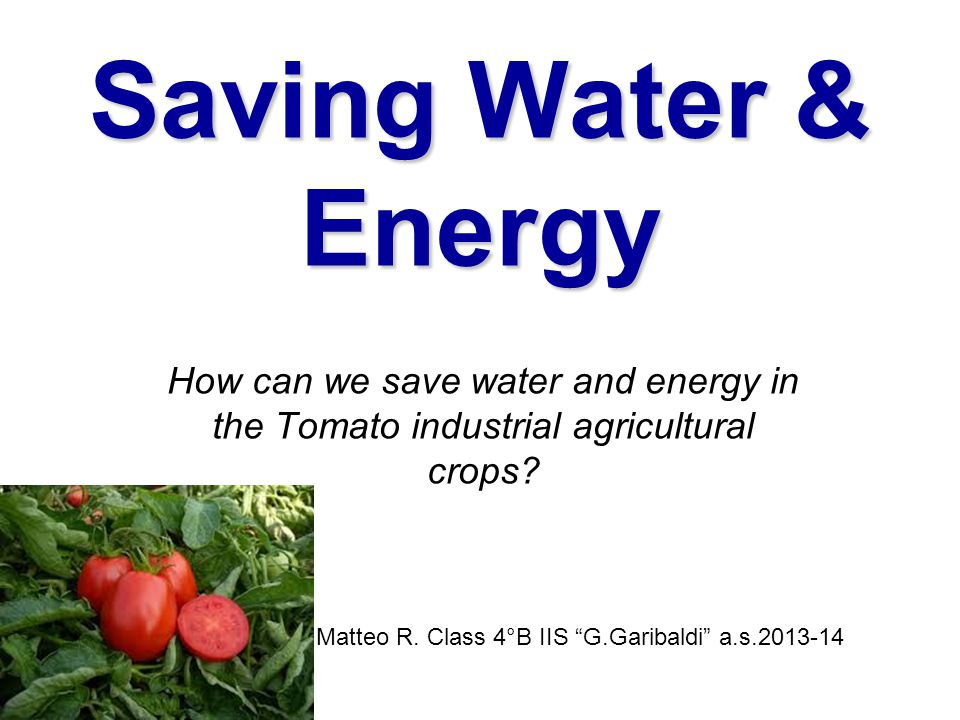 "Saving Water & Energy How can we save water and energy in the Tomato industrial agricultural crops? Matteo R. Class 4°B IIS ""G.Garibaldi"" a.s.2013-14"