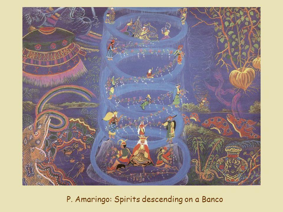 P. Amaringo: Spirits descending on a Banco