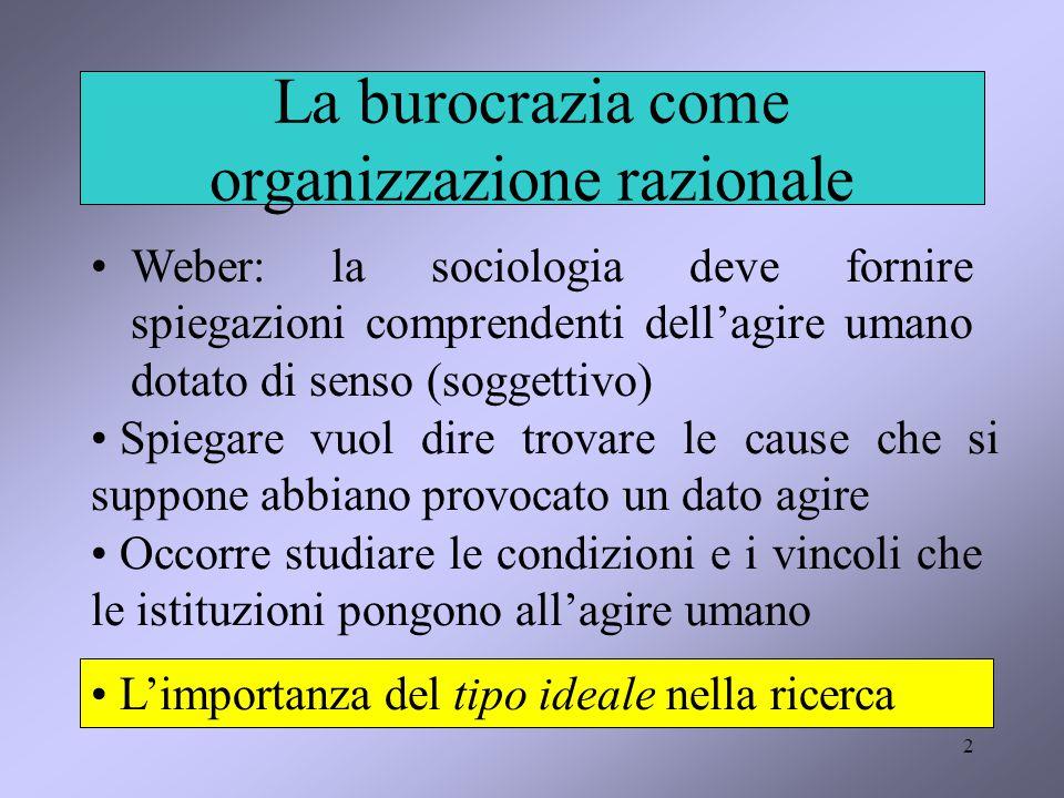 2 La burocrazia come organizzazione razionale Weber: la sociologia deve fornire spiegazioni comprendenti dell'agire umano dotato di senso (soggettivo)