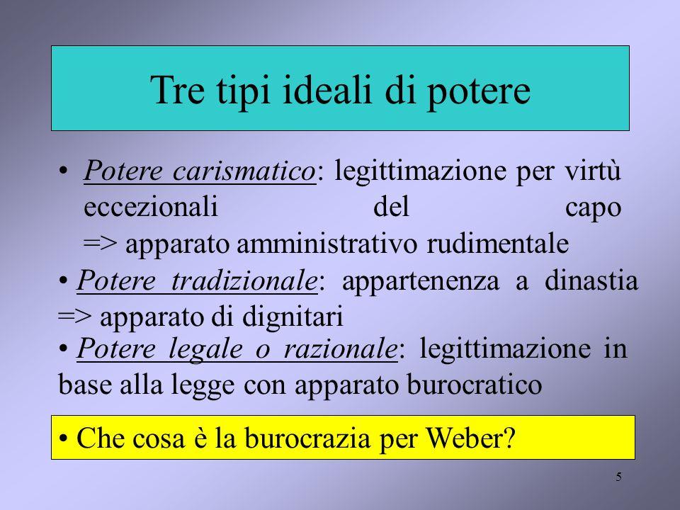 5 Tre tipi ideali di potere Potere carismatico: legittimazione per virtù eccezionali del capo => apparato amministrativo rudimentale Potere tradiziona
