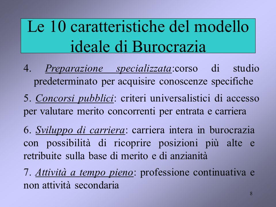 8 Le 10 caratteristiche del modello ideale di Burocrazia 4. Preparazione specializzata:corso di studio predeterminato per acquisire conoscenze specifi