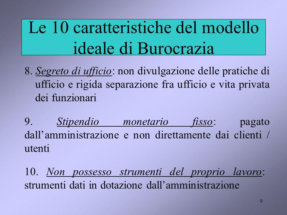 9 Le 10 caratteristiche del modello ideale di Burocrazia 8. Segreto di ufficio: non divulgazione delle pratiche di ufficio e rigida separazione fra uf