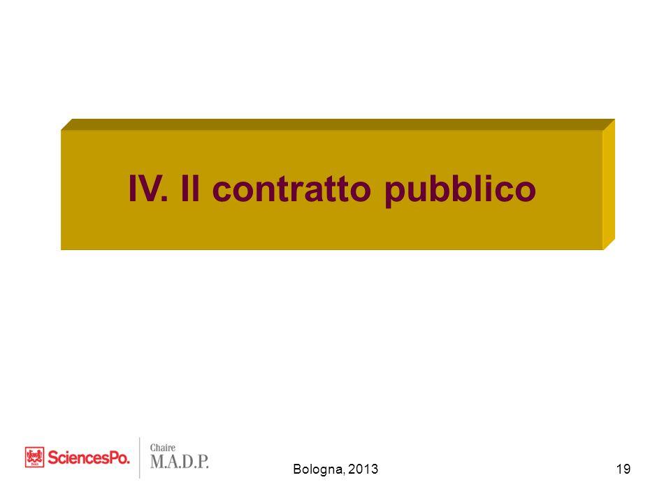 Bologna, 201319 IV. Il contratto pubblico
