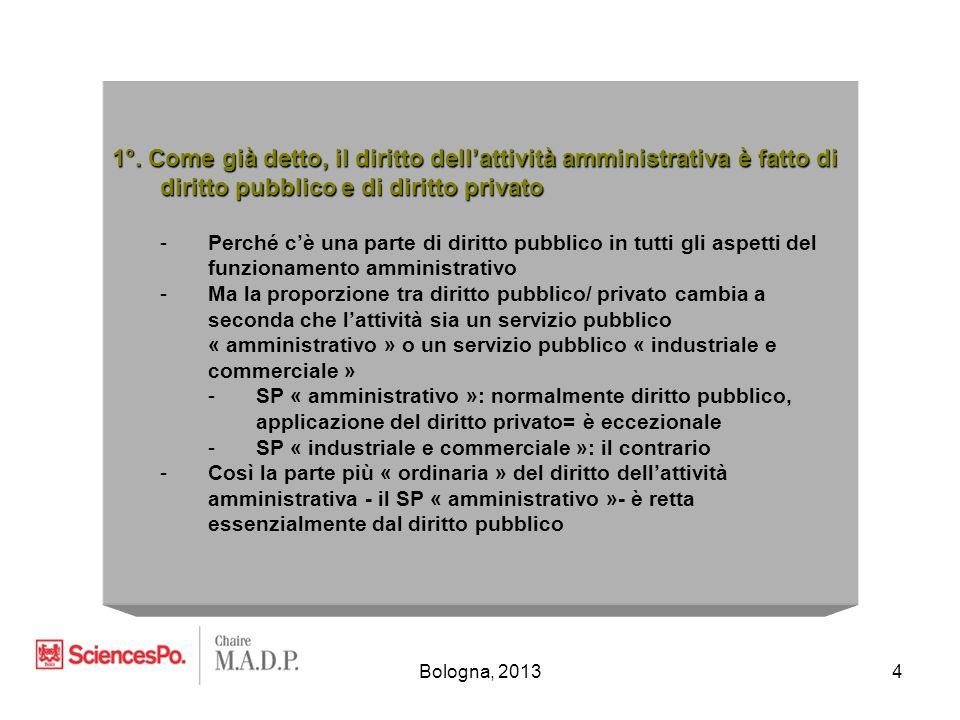 Bologna, 20134 1°. Come già detto, il diritto dell'attività amministrativa è fatto di diritto pubblico e di diritto privato -Perché c'è una parte di d