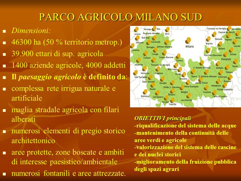 PARCO AGRICOLO MILANO SUD Dimensioni: 46300 ha (50 % territorio metrop.) 39.900 ettari di sup. agricola 1400 aziende agricole, 4000 addetti Il paesagg