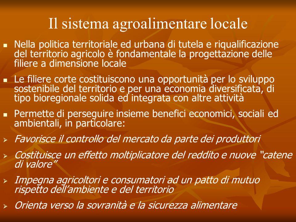 Il sistema agroalimentare locale Nella politica territoriale ed urbana di tutela e riqualificazione del territorio agricolo è fondamentale la progetta