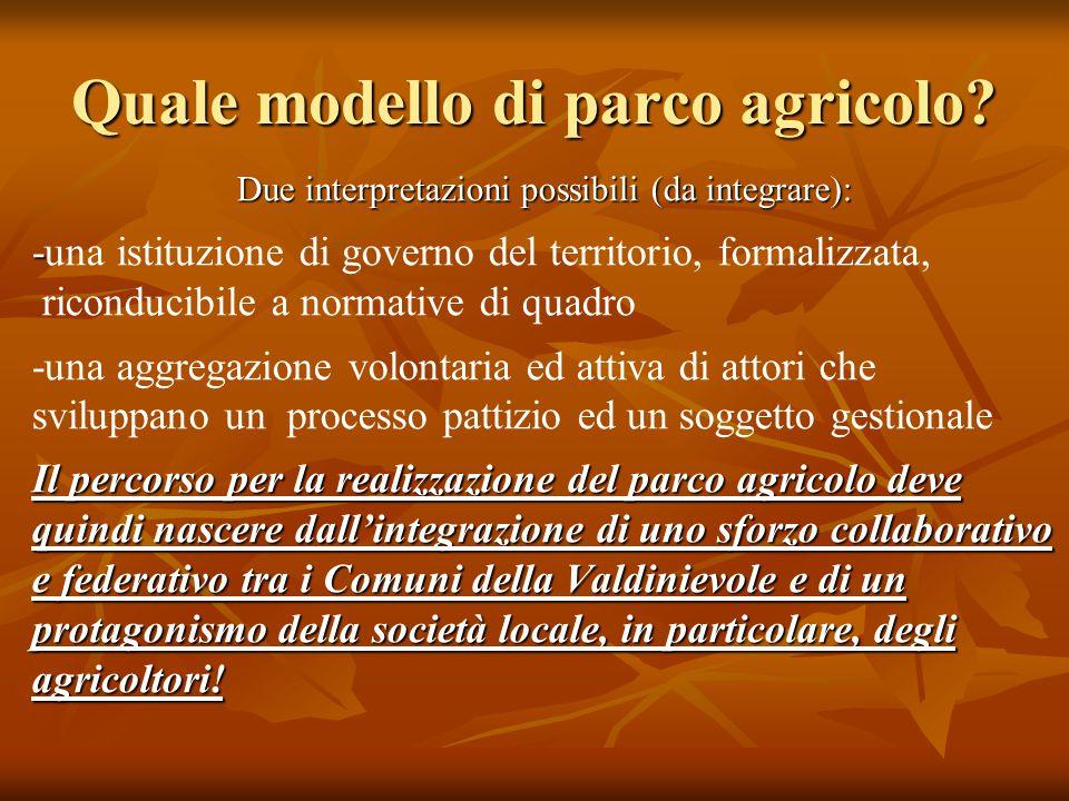 Quale modello di parco agricolo? Due interpretazioni possibili (da integrare): - -una istituzione di governo del territorio, formalizzata, riconducibi