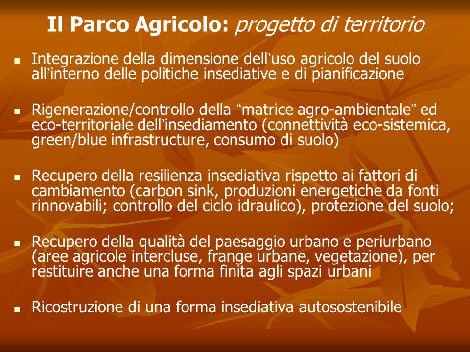 Il Parco Agricolo: progetto di territorio Integrazione della dimensione dell'uso agricolo del suolo all'interno delle politiche insediative e di piani