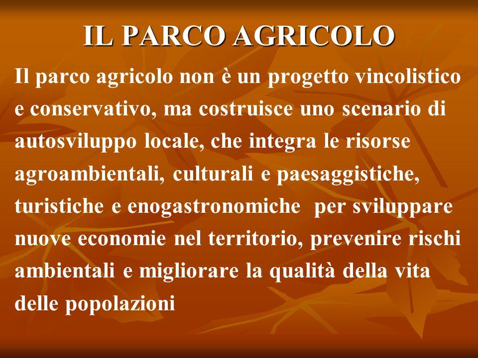 IL PARCO AGRICOLO Il parco agricolo non è un progetto vincolistico e conservativo, ma costruisce uno scenario di autosviluppo locale, che integra le r
