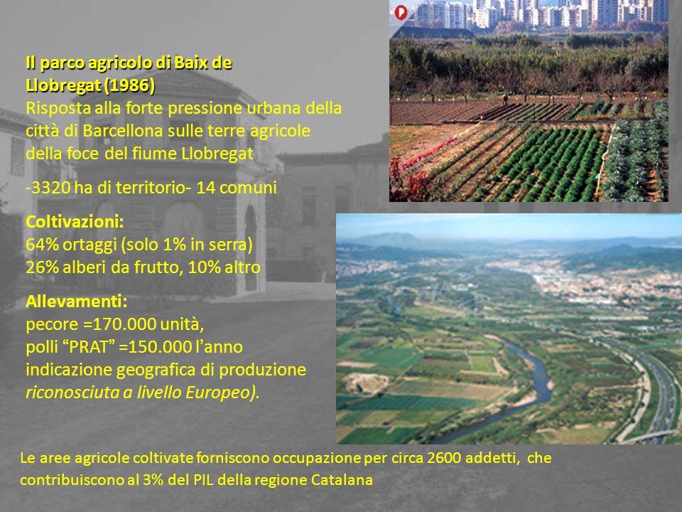 Il parco agricolo di Baix de Llobregat (1986) Risposta alla forte pressione urbana della città di Barcellona sulle terre agricole della foce del fiume