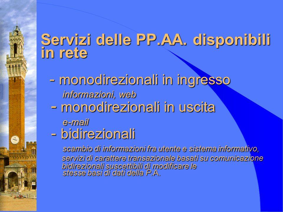 Servizi delle PP.AA. disponibili in rete - monodirezionali in ingresso informazioni, web - monodirezionali in uscita e-mail - bidirezionali scambio di