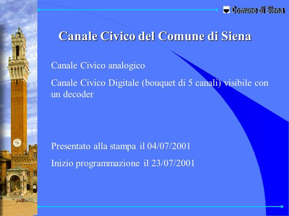 Canale Civico del Comune di Siena Canale Civico analogico Canale Civico Digitale (bouquet di 5 canali) visibile con un decoder Presentato alla stampa