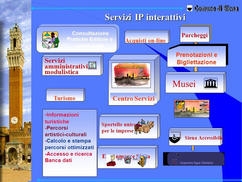 Servizi IP interattivi E-commerce Siena Musei Parcheggi Prenotazioni e Bigliettazione - Informazioni turistiche -Percorsi artistici-culturali -Calcolo