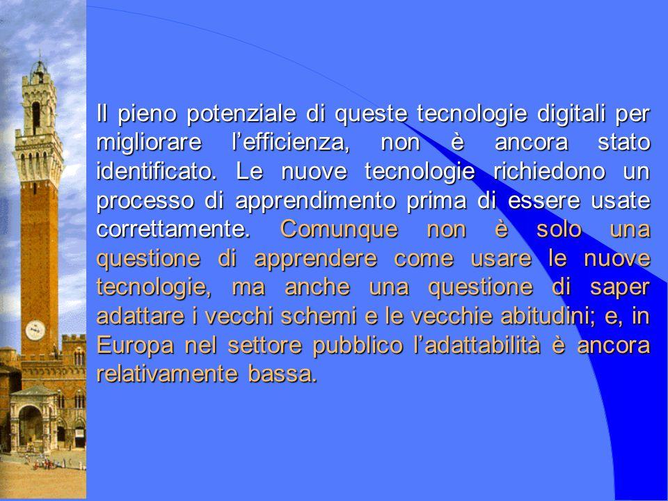 Il pieno potenziale di queste tecnologie digitali per migliorare l'efficienza, non è ancora stato identificato. Le nuove tecnologie richiedono un proc