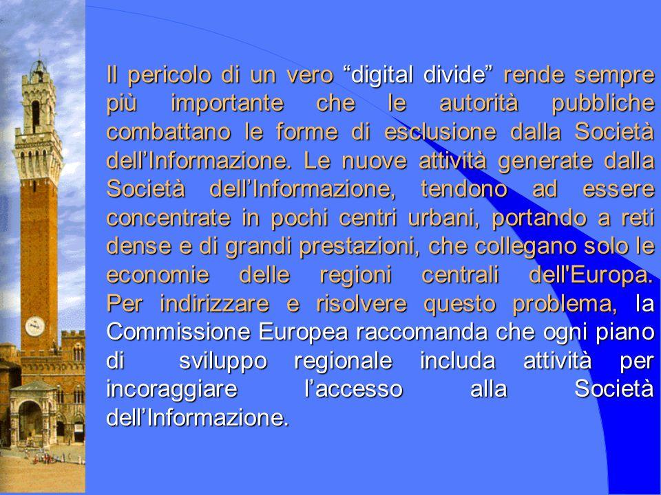 Servizi interattivi attivabili sulla rete HFC sulla rete HFC di Siena telelavoro telemedicina/teleassistenza telecontrollo sistemi di sicurezza nelle abitazioni teledidattica servizi IP (home-banking, e-commerce, ecc.) ecc.