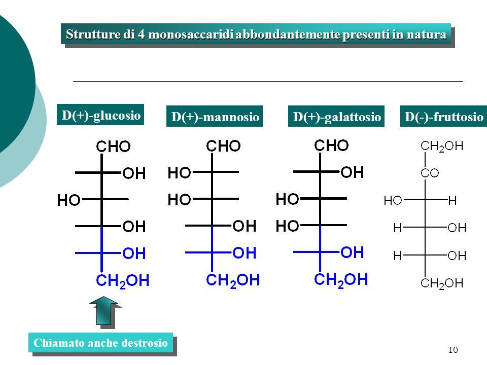 10 D(+)-glucosio D(+)-mannosioD(+)-galattosio Strutture di 4 monosaccaridi abbondantemente presenti in natura Chiamato anche destrosio D(-)-fruttosio