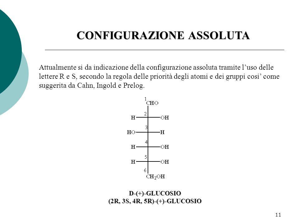 11 CONFIGURAZIONE ASSOLUTA Attualmente si da indicazione della configurazione assoluta tramite l'uso delle lettere R e S, secondo la regola delle priorità degli atomi e dei gruppi cosi' come suggerita da Cahn, Ingold e Prelog.