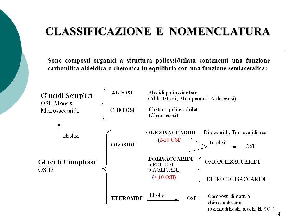 4 CLASSIFICAZIONE E NOMENCLATURA Sono composti organici a struttura poliossidrilata contenenti una funzione carbonilica aldeidica o chetonica in equilibrio con una funzione semiacetalica: