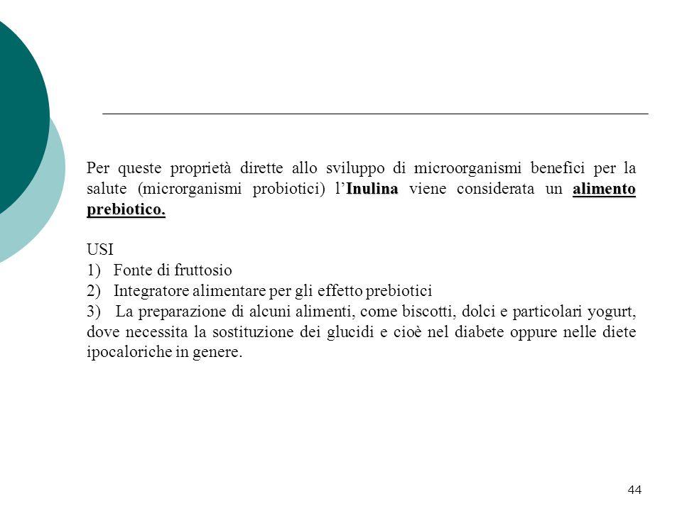 44 Inulinaalimento prebiotico. Per queste proprietà dirette allo sviluppo di microorganismi benefici per la salute (microrganismi probiotici) l'Inulin