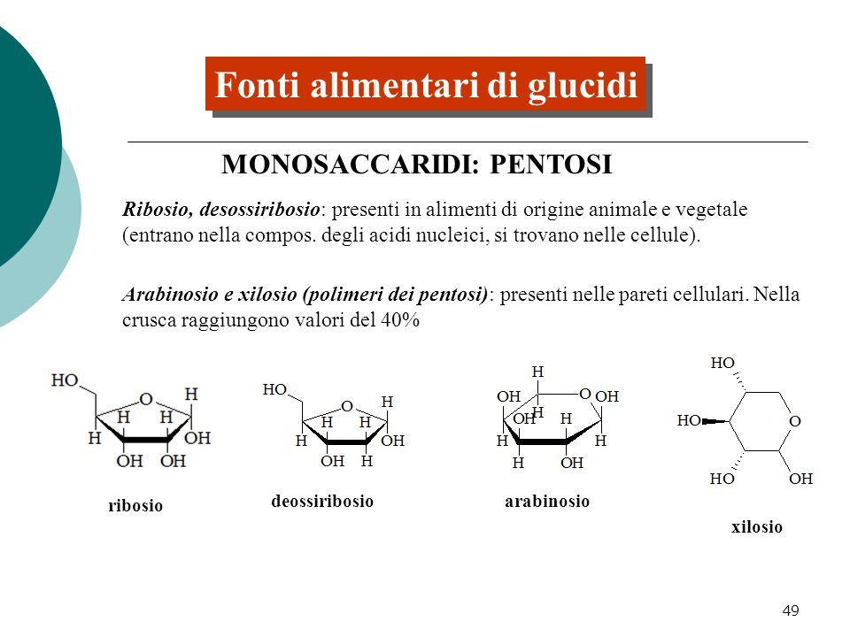 49 Fonti alimentari di glucidi MONOSACCARIDI: PENTOSI Ribosio, desossiribosio: presenti in alimenti di origine animale e vegetale (entrano nella compo