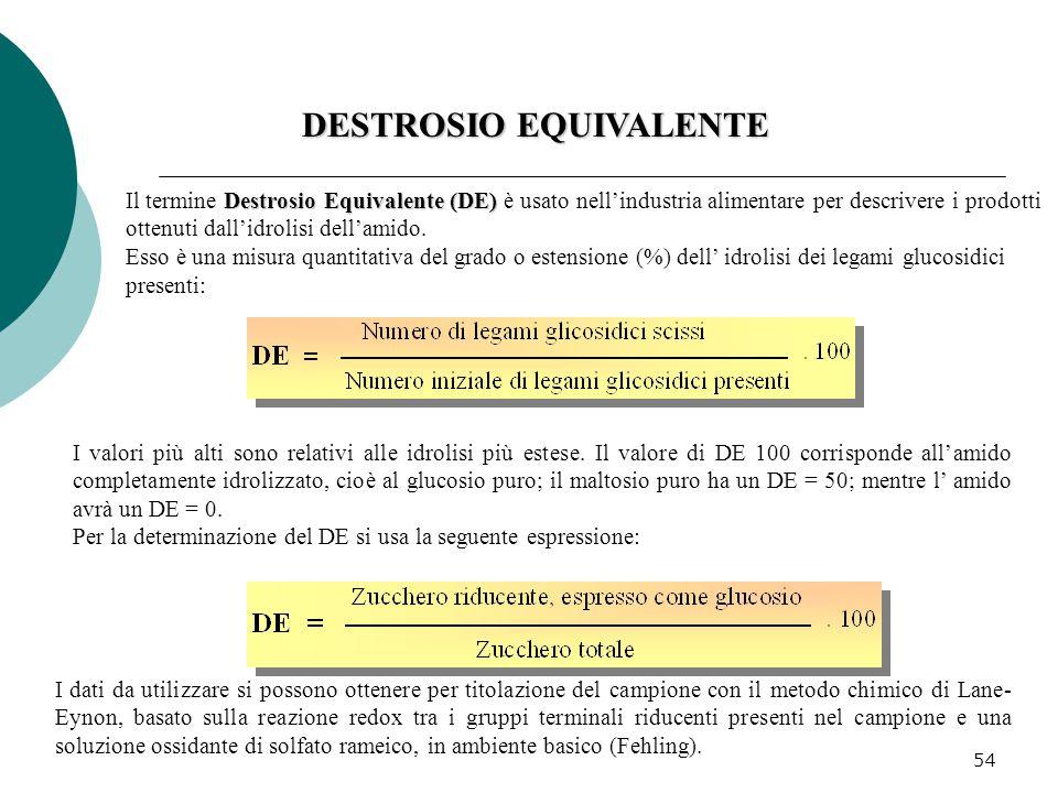 54 Destrosio Equivalente (DE) Il termine Destrosio Equivalente (DE) è usato nell'industria alimentare per descrivere i prodotti ottenuti dall'idrolisi
