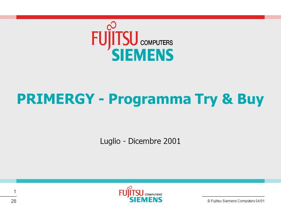 2 © Fujitsu Siemens Computers 04/01 28 Scenario del Mercato xSP 13,4 Milioni di utenti connessi ad Internet in Italia, trend in crescita (+22%) Aumentano gli acquirenti on-line + 81% (1,5 Milioni) 6000 siti di B2C a fine 2000 contro 1253 del 1999 Nuovi orientamenti, piu' di 890.000 utenti utilizzano l' Home Banking , 500.000 operano con il trading on-line Previsioni di mercato danno in continua crescita il numero applicazioni B2B, B2C, MarketPlace (eBusiness) sul mercato italiano