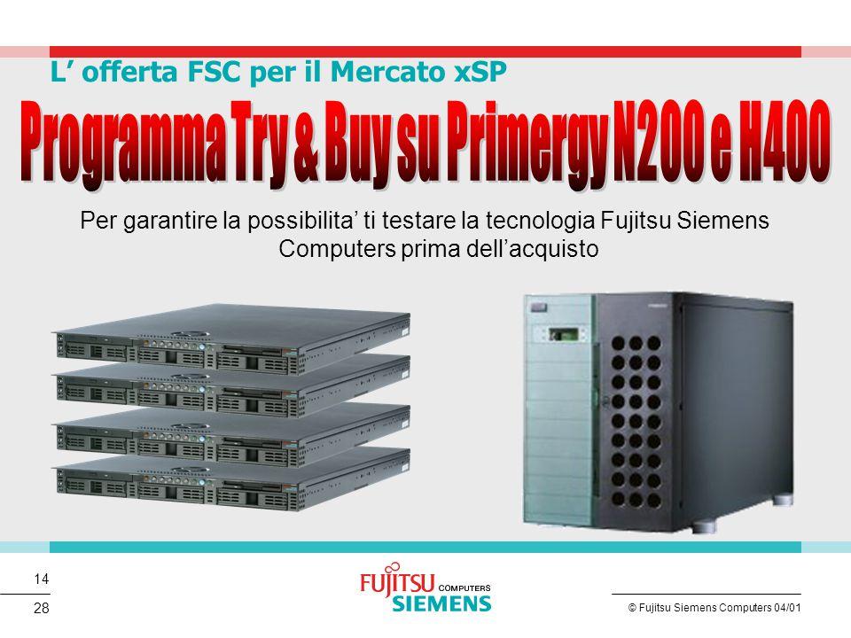 14 © Fujitsu Siemens Computers 04/01 28 L' offerta FSC per il Mercato xSP Per garantire la possibilita' ti testare la tecnologia Fujitsu Siemens Compu