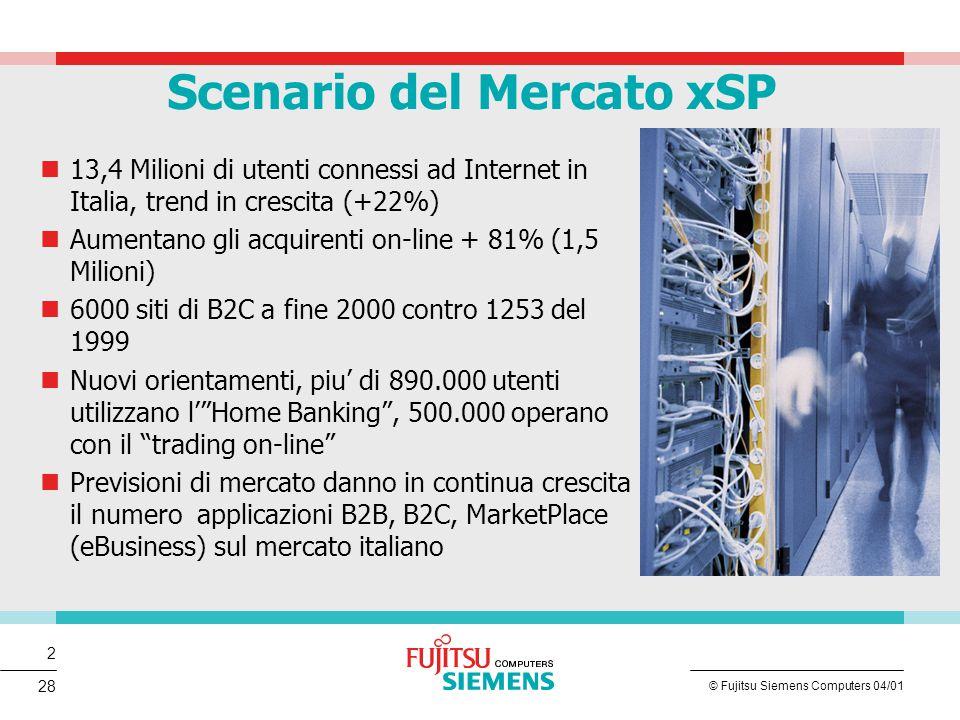 3 © Fujitsu Siemens Computers 04/01 28 Fonte: elaborazioni Assinform / NetConsulting su fonti varie 1.512.000 acquirenti on line (+81% su 1999) 28% di famiglie dotate di PC 9 Mln di PC installati 13.400.000 navigatori Internet (+15.5%) di cui 7.200.000 abituali (+22%) 500.000 clienti di trading on line (ott.