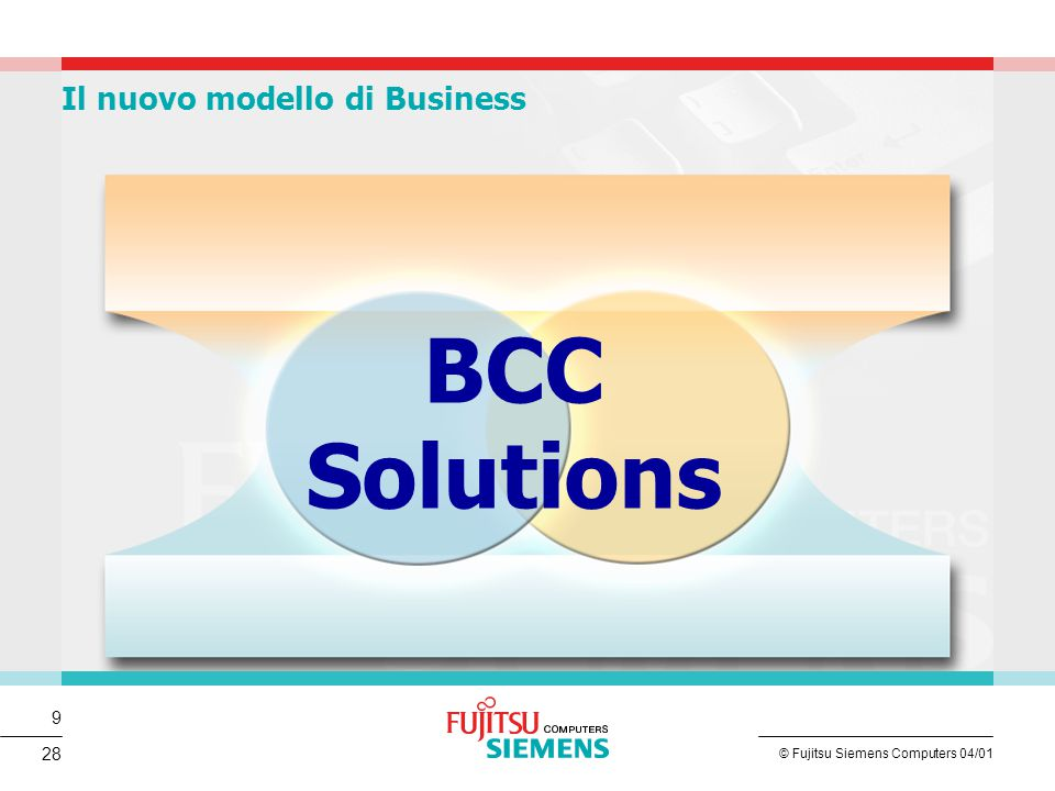9 © Fujitsu Siemens Computers 04/01 28 BCC Solutions Il nuovo modello di Business