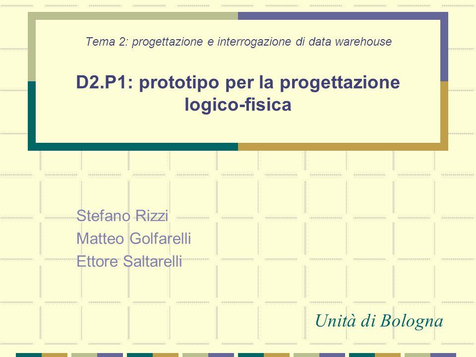 Tema 2: progettazione e interrogazione di data warehouse Stefano Rizzi Matteo Golfarelli Ettore Saltarelli Unità di Bologna D2.P1: prototipo per la pr