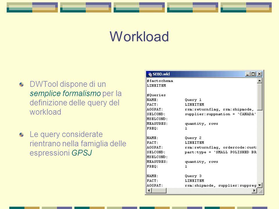 Workload DWTool dispone di un semplice formalismo per la definizione delle query del workload Le query considerate rientrano nella famiglia delle espr