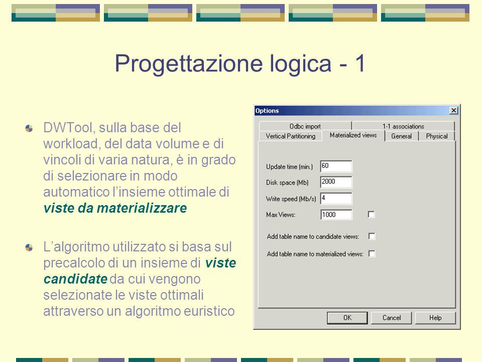 Progettazione logica - 2 Secondo il modello logico adottato, si considera per ogni vista materializzata una stella indipendente dalle altre L'unica eccezione si ha con le dimensional table comuni a più viste, memorizzate in un'unica istanza