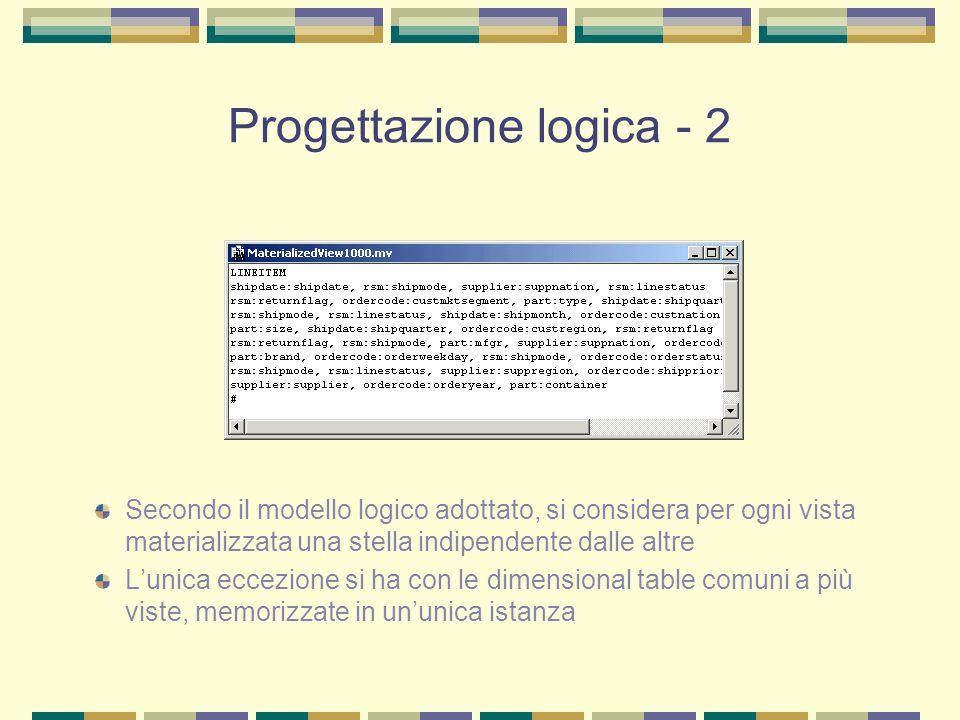 Progettazione logica - 2 Secondo il modello logico adottato, si considera per ogni vista materializzata una stella indipendente dalle altre L'unica ec