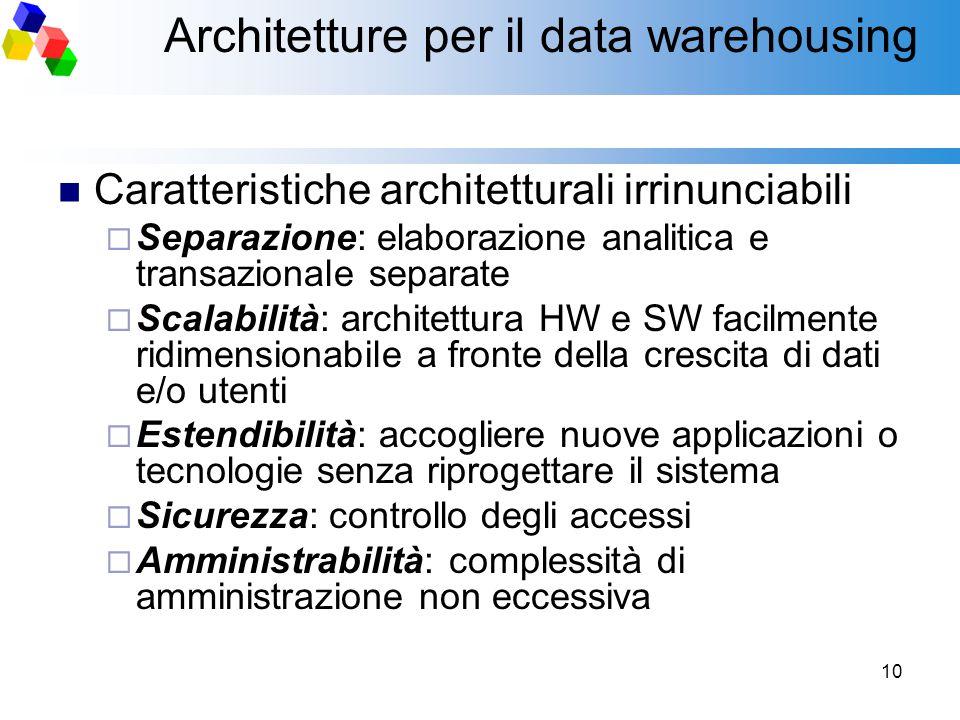 10 Architetture per il data warehousing Caratteristiche architetturali irrinunciabili  Separazione: elaborazione analitica e transazionale separate 