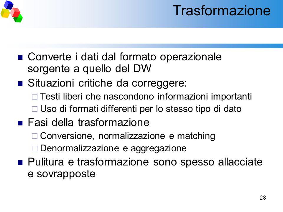 28 Trasformazione Converte i dati dal formato operazionale sorgente a quello del DW Situazioni critiche da correggere:  Testi liberi che nascondono i