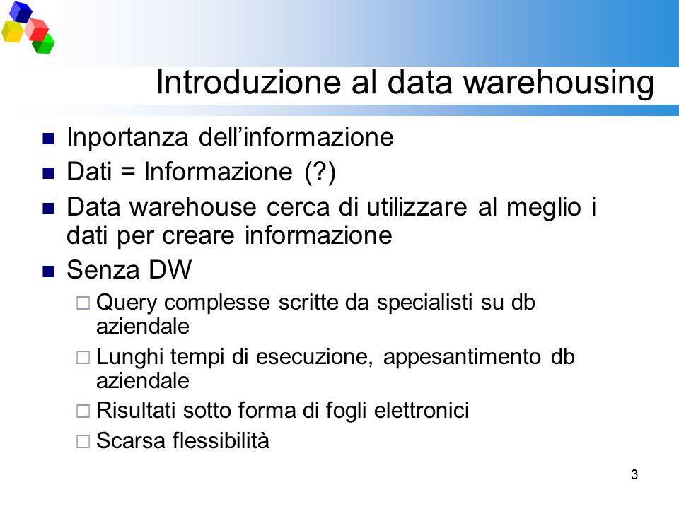 3 Introduzione al data warehousing Inportanza dell'informazione Dati = Informazione (?) Data warehouse cerca di utilizzare al meglio i dati per creare