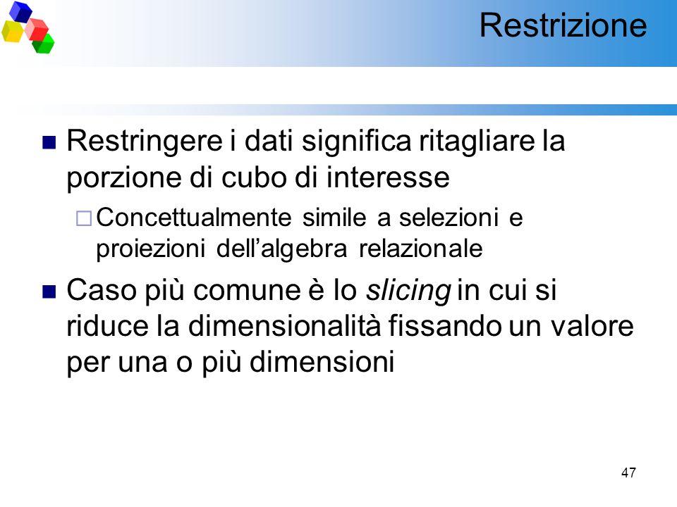 47 Restrizione Restringere i dati significa ritagliare la porzione di cubo di interesse  Concettualmente simile a selezioni e proiezioni dell'algebra