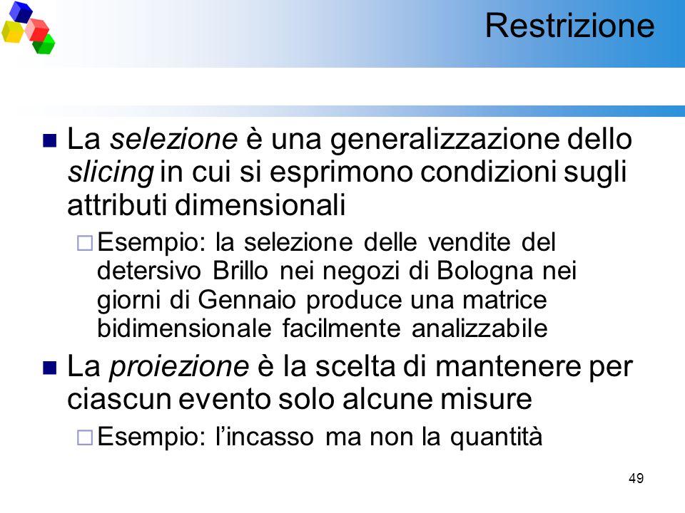 49 Restrizione La selezione è una generalizzazione dello slicing in cui si esprimono condizioni sugli attributi dimensionali  Esempio: la selezione d