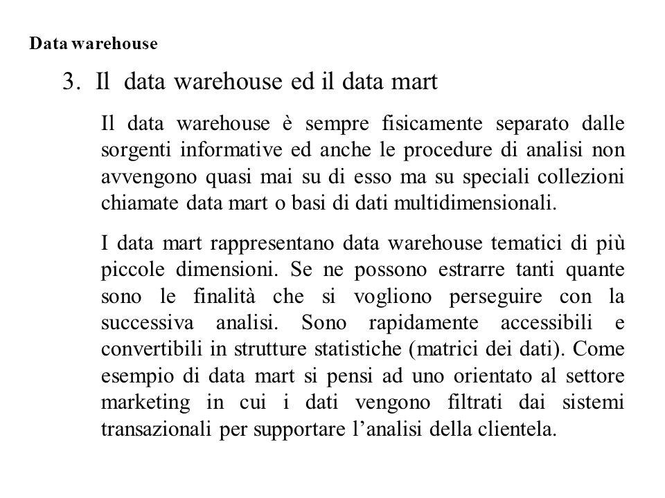 Il data warehouse è sempre fisicamente separato dalle sorgenti informative ed anche le procedure di analisi non avvengono quasi mai su di esso ma su speciali collezioni chiamate data mart o basi di dati multidimensionali.