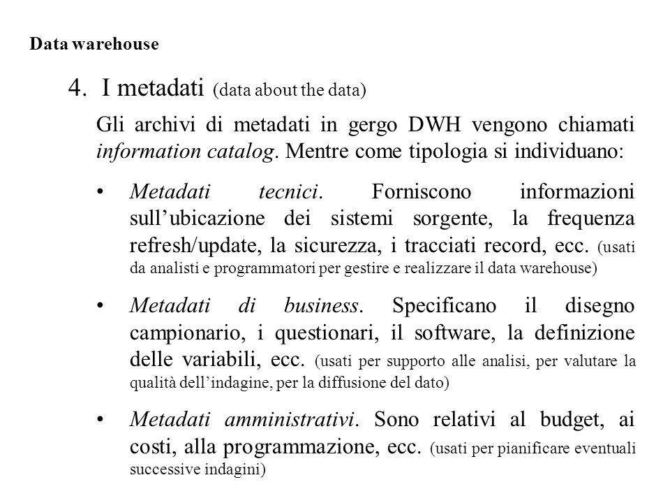 Gli archivi di metadati in gergo DWH vengono chiamati information catalog.