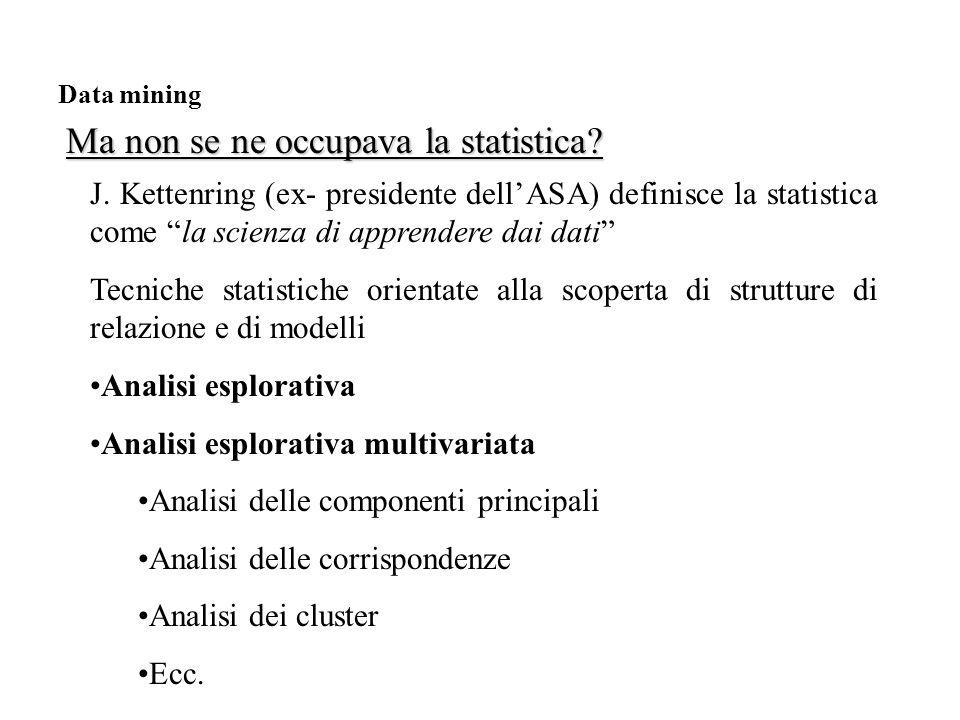 Ma non se ne occupava la statistica. Data mining J.