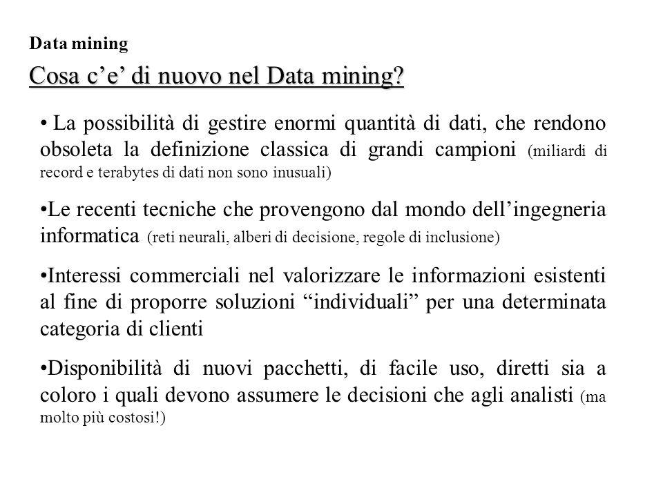Cosa c'e' di nuovo nel Data mining.