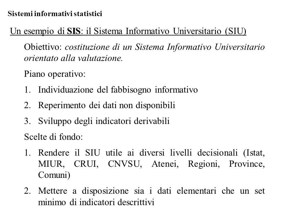 Sistemi informativi statistici SIS Un esempio di SIS: il Sistema Informativo Universitario (SIU) Obiettivo: costituzione di un Sistema Informativo Universitario orientato alla valutazione.